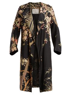 By Walid Henrietta Cherry Blossom-print Silk Coat In Black Print By Walid, Silk Coat, Silk Crepe, Fashion Addict, Black Print, Cherry Blossom, Beautiful Outfits, Love Fashion, Fashion Online