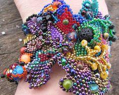 Beaded Cuff Bracelet Freeform Peyote Beading by freesoul on Etsy, $145.00