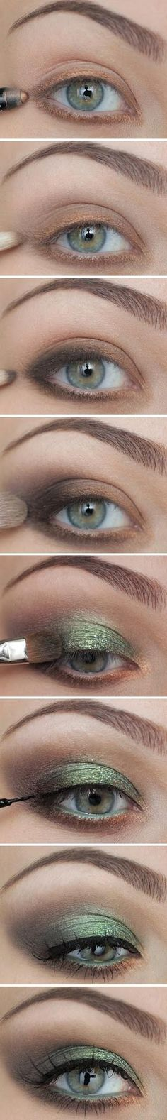 Green + Bronze eye makeup. Emerald is so in this fall.
