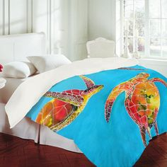 tie dye/ocean  bedroom ideas | DENY Designs Home Accessories | Clara Nilles Tie Dye Sea Turtles Duvet ...