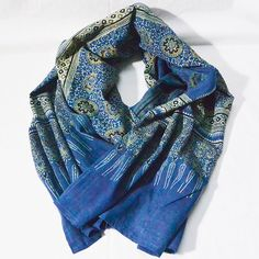 Block print indigo blue stole AJRAKH PRINT Aalia by CHARKHASTORE