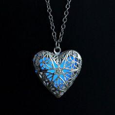 Glow in the Dark Glow Heart Round & Water Drop Locket Glowing Pendant & Necklace