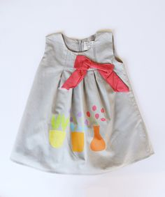 Look at this Gray Flowerpot Bow Dress - Infant, Toddler & Girls on #zulily today!