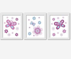 BUTTERFLY Baby Girl Nursery Wall Art by DezignerheartDesigns