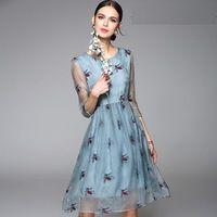 Europeas 2016 nuevo vestido de verano estilo mujeres Animal lindo del bordado de 3/4 manga una línea de Organza vestido de seda para mujer de la alta calidad