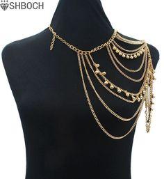 764aafa5 4.31 5% de DESCUENTO|Aliexpress.com: Comprar Sexy hombro cadena collar  mujeres multi capas collar mujeres Accesorios hombros moda 2017 de layered  necklace ...