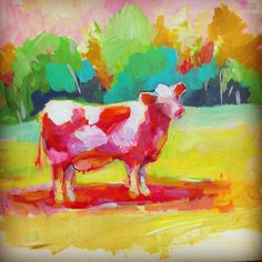 This is why I can't be left alone with acrylics- see what happens? #paintlikeachild #pinkcow #artist  #nofear #kidsart #cow #toomuchfun
