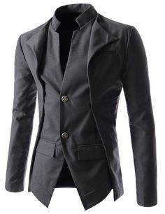 (NJK7) Slim fit Double Collar 2 Button Blazer Jacket