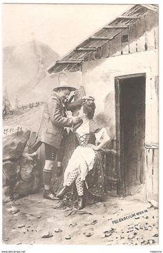 """Alt Ansichtskarte """"Jäger und das Bauernmädchen"""" - FEC. CH. SCOLIK. WIEN 1901 Österreich."""