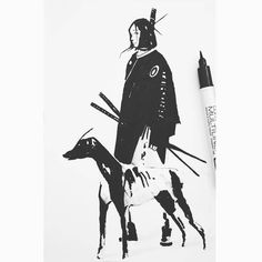 regram @joseba_alexander #sketchdaily #sketchbook #samurais #dog #ink #warriorgirl #illustration #sketch