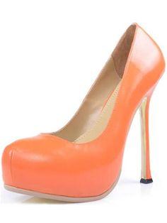 "Orange 5 1/2"" High Heel 1 1/5"" Platform Sheepskin Womens Pumps#high heel boots# sexy shoes# platform heels#"