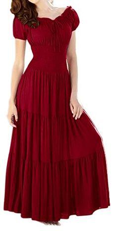 Peach Couture Gypsy Boho Cap Sleeves Smocked Waist Tiered Renaissance Maxi Dress Crimson Red, Medium Peach Couture http://www.amazon.com/dp/B00N39UWRQ/ref=cm_sw_r_pi_dp_2WE7wb117HSPZ