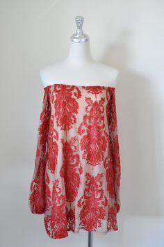 vintage women boho off-shoulder blouse / top by VintageStyleShop1
