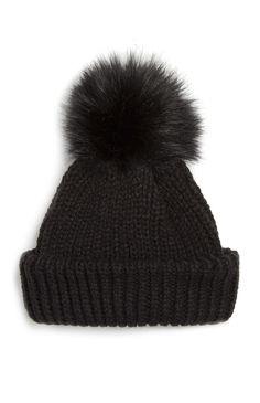 Primark - Gorro canelado imitação de pelo preto