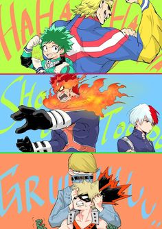 My Hero Academia. Midoriya and All Might, Todoroki and Endeavor, Bakugou and Best Jeanist.  Credits to the artist.