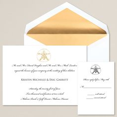 Elegant Sand Dollar Wedding Invitation | #exclusivelyweddings | #beachwedding