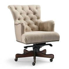 Button Tufted Linen Accented With Silver Nailhead Trim Defines The Elegant  Averly Desk Chair.