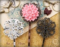 Diy Hair pins using Vintage Style Filigree hairpins from Sun and Moon $.60
