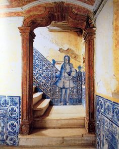 """Staircase at an old noble house in Lisbon ,Portugal. The life size figures represented in tiles are called """"figuras de convite"""" (invitation figures) and are found in entrances and staircases to """"invite"""" you in to the house. Portuguese Culture, Portuguese Tiles, Delft, Art Ancien, Visit Portugal, Hair Raising, Tile Art, Home Interior, Interior Livingroom"""