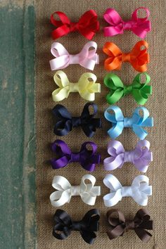 Grosgrain Ribbon hair bows on lined alligator clips 6 Small (2 inch)