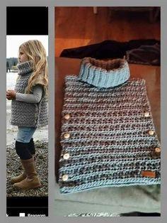 Hes met col Poncho Au Crochet, Pull Crochet, Mode Crochet, Tunisian Crochet, Knit Crochet, Loom Knitting, Baby Knitting, Knitting For Kids, Knitting Patterns