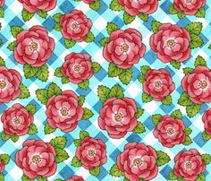 My latest fabric design - available in new performance knit fabric and 10 other types of fabric, wallpaper, wall decals and wrapping paper - yippee!!! Alpen Rose with Gingham fabric by #PatriciaSheaDesigns on #Spoonflower
