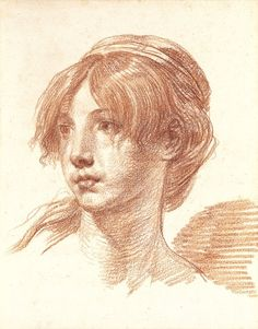 Jean-Baptiste Greuze, head of a young girl, 1770, red chalks on paper