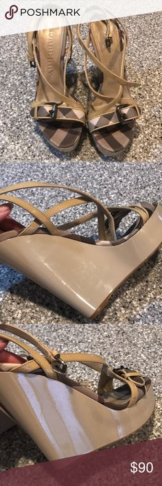 Great condition Burberry Wedge Heels Size 9 Great shoes. Always authentic. I never trade. Don't ask. Burberry Shoes