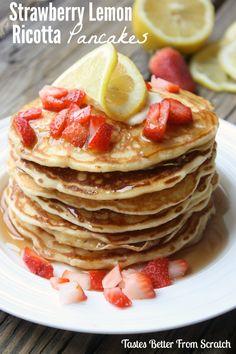 Strawberry Lemon Ricotta Pancakes on MyRecipeMagic.com