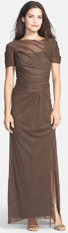 Alex Evenings Ruched Glitter Mesh Gown