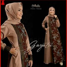 BMGSHOP 201612bbg motif gamis gayatri mocca modis dan Sharing Batik Fashion, Abaya Fashion, Muslim Fashion, Women's Fashion Dresses, Batik Kebaya, Kebaya Dress, Blouse Batik, Batik Dress, Batik Muslim