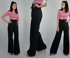 Awesome 1970s wide leg flares! Double button with zipper closure. Cinched in waist. Wide leg pants. Unlined.  Size: Small - Medium Tag: -- Brand: Alfred Paquette Excellent Vintage Condition: ♥  Measurements: Waist: up to 28 Hips: 37 Rise: 13.5 Inseam: 33 Giannas Measurements; bust: 32 waist: 26.5 hips: 37 Height: 5 5  4O16PANTS  *Any overpayment exceeding $4 USD will be refunded back to your account.  *All items are measured in US inches, Shoes are listed in the US size.  *All Items are…