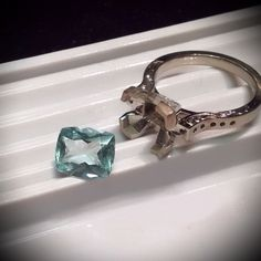 Hand engraved, 2.32 ct. Aquamarine ring.   Christian Hasler & Helen Kim Creations