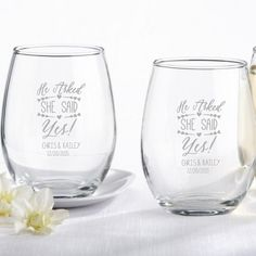 "Engagement gifts:  ""He asked - She said yes!"" Personalized 9 oz. Stemless Wine Glass by Beau-coup"