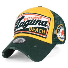 1466efb55e5 ililily LAGUNA BEACH Vintage Distressed Trucker Hat Black Snapback Baseball  Cap