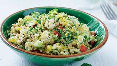 Bulgursalat med salatost, mynte og dild