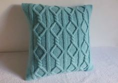 Cable Knit Pillow Cover Aqua, Turquoise Knit Throw Pillow, Decorative Pillow, Hand Knit Pillow Case, 16x16 Pillow Cover by Adorablewares on Etsy