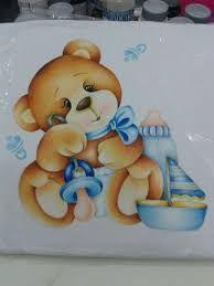 Resultado de imagem para desenho para fraldas de bebê Painting Words, Tole Painting, Fabric Painting, Ted Bear, Country Paintings, Cute Teddy Bears, Copics, Easy Paintings, Baby Boy Shower
