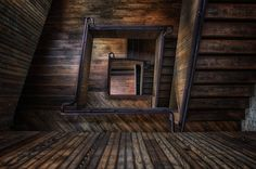 Spiral Wooden Abandoned Staircase HD Wallpaper