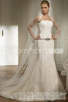 Brilliant Slight Trumpet/Mermaid Strapless Embroidery & Beaded Bridal Gown (3AD0118)