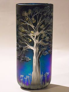 Iridised and Fire Polished Hand Cut Tree Vase by Richard Golding