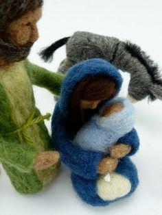 Natività 9 pezzo Felted lana presepio su di sheepcreekstudio