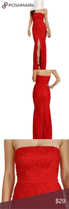 Strapless Red Lace Mermaid Gown This is a GORGEOUS mermaid dress perfect for homecoming, prom, or any other formal occasion where you can rock this baby 😉 It's a beautiful firey red with lace and a waistline detail that's very slimming and gives a bangin' shape to your body. There are a few snags throughout the dress which I've tried to show but they're hardly noticable unless you're really looking for them. The bottom of the dress is frayed but that's not too noticable either. All in all…