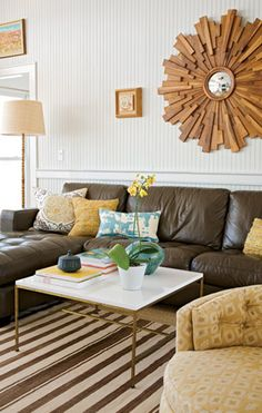 Suzie: Angie Hranowski - Brown  yellow eclectic living room design with brown leather tufted ...