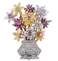 #MultiColoured #Diamond #Flowers #Vase #Brooch #Pins #Jewellery