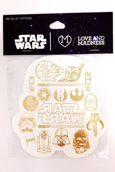 These are the tattoos you are looking for. Metallic temporary tattoo pack from Love and Madness with all your favorite Star Wars icons- Stromtrooper helmet, Yoda, Darth, Chewbacca, R2D2, C3PO, and mor