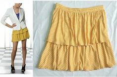 SALLY TSENG ~AMAZING TIERED~ LUXE LINEN & COOL COTTON STRIPED SKIRT NWT $265 4