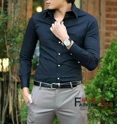 Ideas Dress Blue Casual Outfit Dark For 2019 Blue Shirt Outfit Men, Grey Pants Outfit, Navy Blue Dress Shirt, Dark Blue Shirt, Navy Blue Shirts, Business Outfit, Business Casual Outfits, Formal Men Outfit, Casual Attire