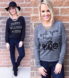 Halloween is right around the corner! How cute are these tops to show your spirit?! #shopamelias #ootd #fashion #style #boutique #shopping #retail #halloween #spirit #holiday #boo #fall #kansascity #overlandpark