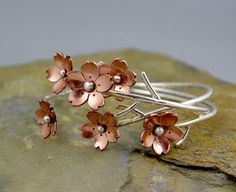 Cherry Blossom Flower Branch Cuff, 1 Sakura bracelet, Gifts For Mom, Spring Wedding Jewelry, Plum Blossom, Wedding Jewelry,MADE TO ORDER